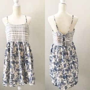 Mixed Pattern Striped Floral Tie Back Sun Dress